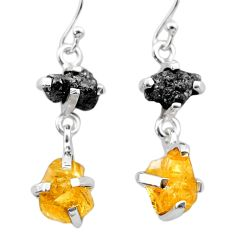 9.57cts natural diamond rough citrine raw 925 silver dangle earrings t26785