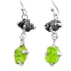 11.10cts natural diamond rough green peridot raw 925 silver earrings t25792