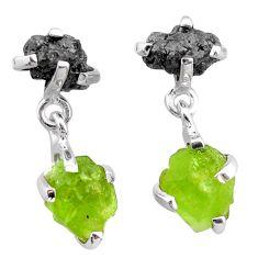 10.48cts natural diamond rough peridot raw 925 silver dangle earrings t25713