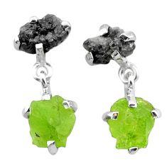 10.06cts natural diamond rough peridot raw 925 silver dangle earrings t25745