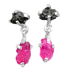 7.57cts natural diamond rough ruby raw 925 silver dangle earrings t25701