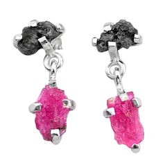 8.48cts natural diamond rough ruby raw fancy 925 silver earrings t25733
