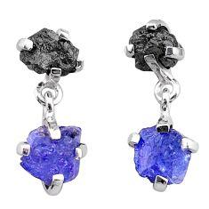9.41cts natural diamond rough tanzanite raw 925 silver dangle earrings t25712