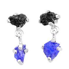7.51cts natural diamond rough tanzanite raw 925 silver dangle earrings t25729