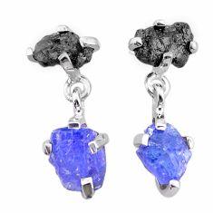 8.55cts natural diamond rough tanzanite raw 925 silver dangle earrings t25756
