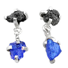 9.49cts natural diamond rough tanzanite raw 925 silver dangle earrings t25775