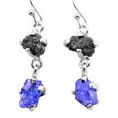 7.82cts natural diamond rough tanzanite raw 925 silver dangle earrings t26765