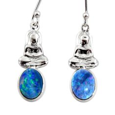 2.78cts natural doublet opal australian 925 silver buddha charm earrings r48168