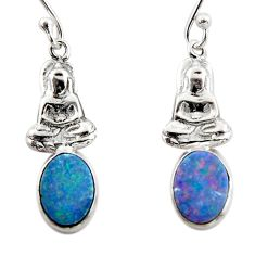 2.82cts natural doublet opal australian 925 silver buddha charm earrings r48187