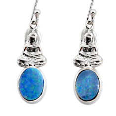 2.82cts natural doublet opal australian 925 silver buddha charm earrings r48188
