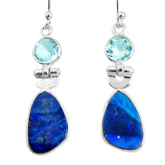 7.82cts natural doublet opal australian topaz 925 silver dangle earrings r50906