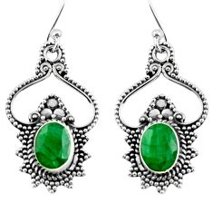4.40cts natural emerald 925 sterling silver dangle earrings jewelry r54061