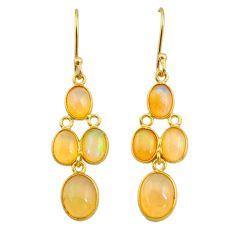 7.53cts natural ethiopian opal 925 silver 14k gold dangle earrings t23961