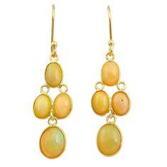 7.87cts natural ethiopian opal 925 silver 14k gold dangle earrings t23962