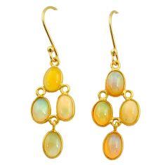 6.80cts natural ethiopian opal 925 silver 14k gold dangle earrings t23966