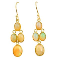 7.92cts natural ethiopian opal 925 silver 14k gold dangle earrings t23970