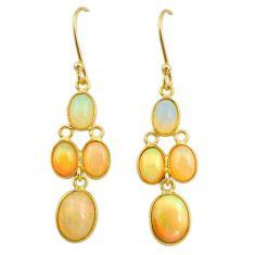 7.50cts natural ethiopian opal 925 silver 14k gold dangle earrings t23971