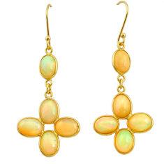10.28cts natural ethiopian opal 925 silver 14k gold dangle earrings t23972