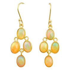 6.94cts natural ethiopian opal 925 silver 14k gold dangle earrings t23974