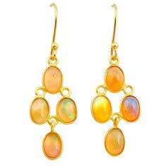 6.92cts natural ethiopian opal 925 silver 14k gold dangle earrings t23979