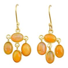 6.30cts natural ethiopian opal 925 silver 14k gold dangle earrings t23982