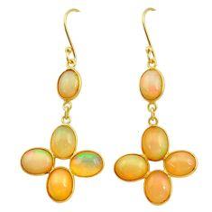 12.54cts natural ethiopian opal 925 silver 14k gold dangle earrings t23990