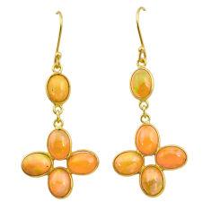 10.72cts natural ethiopian opal 925 silver 14k gold dangle earrings t23991