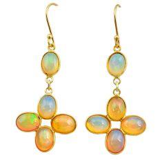 11.23cts natural ethiopian opal 925 silver 14k gold dangle earrings t23993