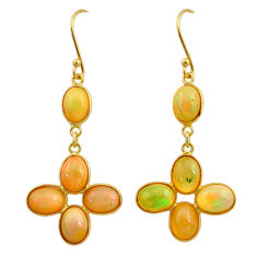 11.28cts natural ethiopian opal 925 silver 14k gold dangle earrings t23996