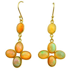 11.40cts natural ethiopian opal 925 silver 14k gold dangle earrings t23997