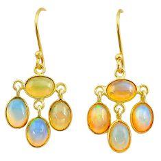 8.48cts natural ethiopian opal 925 silver 14k gold dangle earrings t23998
