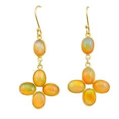 10.84cts natural ethiopian opal 925 silver 14k gold dangle earrings t24000