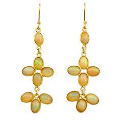 9.74cts natural ethiopian opal 925 silver 14k gold dangle earrings t24003