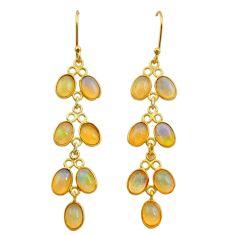 10.33cts natural ethiopian opal 925 silver 14k gold dangle earrings t24006