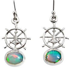 3.83cts natural ethiopian opal 925 silver dangle anchor charm earrings r51022