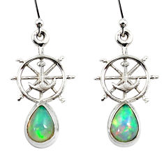 3.82cts natural ethiopian opal 925 silver dangle anchor charm earrings r51023