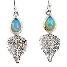 4.14cts natural ethiopian opal 925 silver deltoid leaf earrings jewelry r47468
