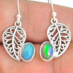 3.03cts natural ethiopian opal 925 silver deltoid leaf earrings jewelry r76293