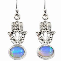 4.10cts natural ethiopian opal 925 silver hand of god hamsa earrings r47421