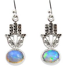 4.07cts natural ethiopian opal 925 silver hand of god hamsa earrings r47423