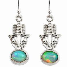 4.04cts natural ethiopian opal 925 silver hand of god hamsa earrings r47434
