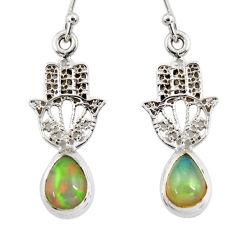 3.95cts natural ethiopian opal 925 silver hand of god hamsa earrings r47446