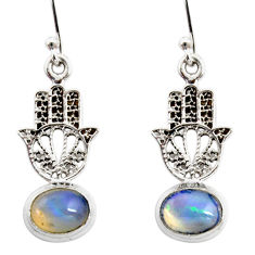 4.10cts natural ethiopian opal 925 silver hand of god hamsa earrings r47452