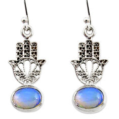 3.84cts natural ethiopian opal 925 silver hand of god hamsa earrings r47462