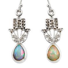 4.15cts natural ethiopian opal 925 silver hand of god hamsa earrings r47469
