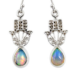 3.95cts natural ethiopian opal 925 silver hand of god hamsa earrings r47471