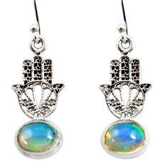 3.83cts natural ethiopian opal 925 silver hand of god hamsa earrings r51025