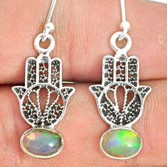 2.76cts natural ethiopian opal 925 silver hand of god hamsa earrings r76253