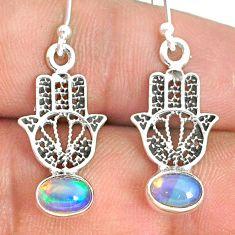 2.94cts natural ethiopian opal 925 silver hand of god hamsa earrings r76259