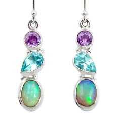 8.10cts natural ethiopian opal amethyst topaz 925 silver dangle earrings r47521